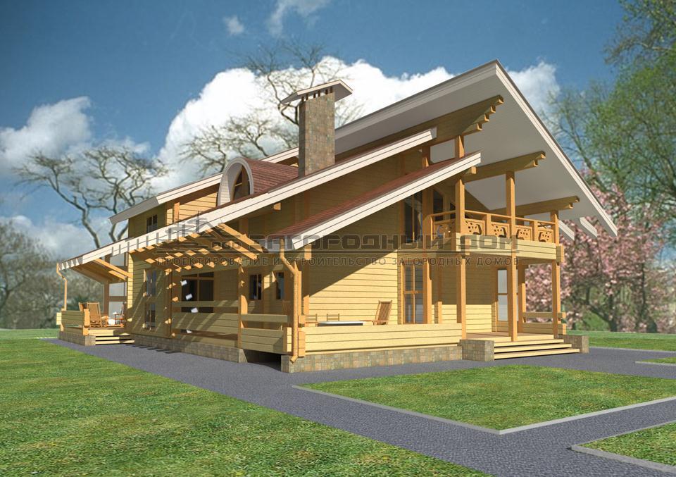 Большой дом с большими террасами и балконом, проект завидово.